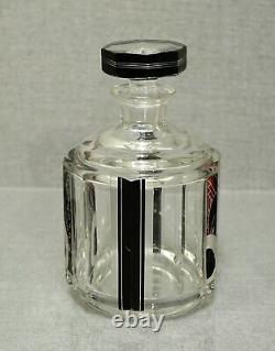 Karl Palda Art Deco Czech Bohemian Cut Crystal Glass Decanter Liquor set Tumbler