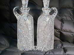 LARGE Antique Decanters (1880-1910) Cut Leaded Glass Crystal Pair 11High