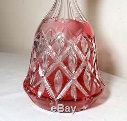 LARGE antique red ombre cut to clear Czech Bohemian crystal glass decanter