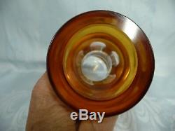 LOVELY VINTAGE AMBER CRYSTAL DECANTER withSTOPPER CUT TO CLEAR