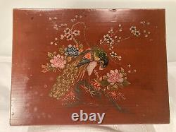 Large Antique Chinoiserie Lacquered Tea Box 26.5 X 20 X 20 Cm Tall