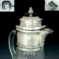 Large Antique French Sterling Silver Cut Glass Wine Claret Jug Decanter Pitcher