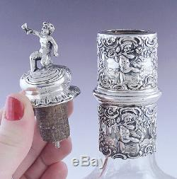 Late 1800s/early 1900s German Silver Overlay Cut Glass Decanter Bottle