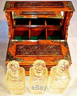 Late Victorian Oak 3 Decanter Tantalus with Games Drawer & Key