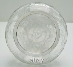 Libbey Cut Glass Floral Motif Marked with Sterling Silver Topped Stopper