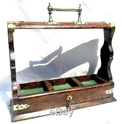 Lovely Antique Decanter / Tantalus Box With Lock And Key Missing Decanters