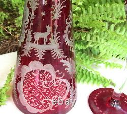 Lovely Czech Bohemian Ruby Cut To Clear Decanter & 2 Cordials Set