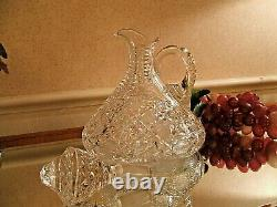 Magnificent American Brilliant Period Cut Glass Oval Whiskey Decanter