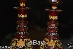 Magnificent pair of Bohemian hand cut and enameled glass decanter