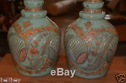 Magnificent pair of large Bohemian hand cut and enameled Opaline glass decanter