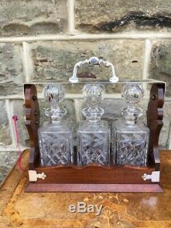Mahogany & Silver Plated 3 Bottle Tantalus Decanter Drinks