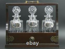 Mahogany Three Bottle Tantalus With Silver Decanter Lables Whisky, Gin, Brandy