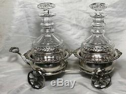 Mappin & Webb Silver Antique Double Carriage Cognac Crystal Tantalus Decanter