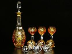 Marsala Amber Gold Cut To Clear Crystal Decanter & 6 Wine Glass Set