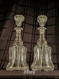 Matching Pair of Two (2) Fine Cut Crystal Decanters Most Likely Baccarat