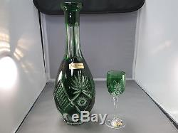 NATCHMANN CRYSTAL EMERALD GREEN CUT TO CLEAR PORT GLASSES AND DECANTER SET