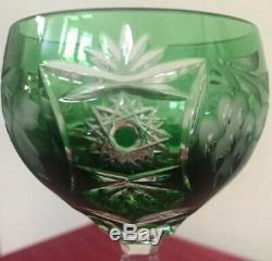NEW Nachtmann Traube Wine Decanter Green Glasses Cut to Clear Crystal Set 7
