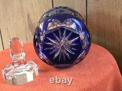 Nachtmann Cobalt Blue Cut to Clear Crystal Decanter Vtg With Octagonal Stopper