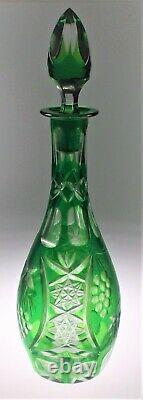 Nachtmann Traube/ Ajka Marsala Cordial Decanter 13 Cut To Clear Emerald