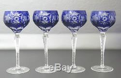Nachtmann Traube Cobalt Blue Cut to Clear Crystal Decanter with 4 Goblets, 15 1/2
