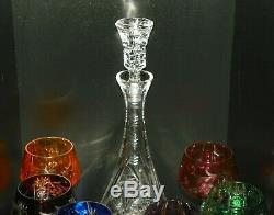 Nachtmann Traube Crystal Cut To Clear Wine Glass Set Of 6 Decanter 8 in 8 oz
