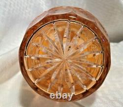 Nachtmann Traube Decanter 15 1/2 Apricot Orange Cut To Clear Crystal Bohemian