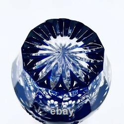 Nachtmann Traube Vintage 1950s Cobalt Cut To Clear Crystal Cordial Decanter