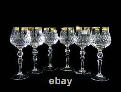 Neman 8.5 Oz Set of 6 wine Glasses HandMade Cut Crystal Wine Glasses 24K Gold