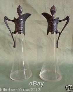 Nice Pair Art Nouveau 1900 German Wmf cut glass Claret Pitcher Jug Decanter