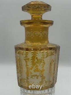 Nineteenth Century Bohemian Cut To Clear Amber Glass Decanter Deer and Castle