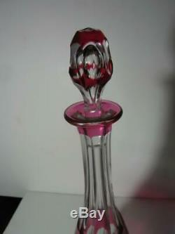 Old Val St Lambert Ruby Red Cut To Clear Seville Decanter 15 3/4 Art Glass VSL