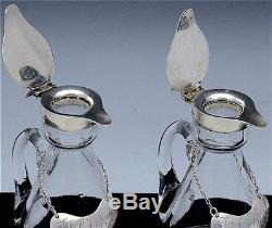 PAIR 1930 MAPPIN & WEBB STERLING & CUT GLASS WHISKEY NOGGIN JUGS w DECANTER TAGS