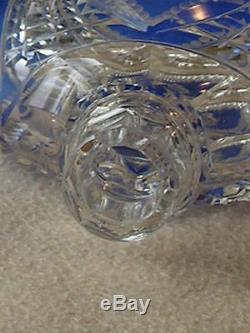 Pair Of Antique Georgian Victorian Bohemian Moser Cut Glass Crystal Decanters
