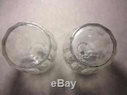 Pair Antique 3 Ring Cut Glass Decanters 1800's