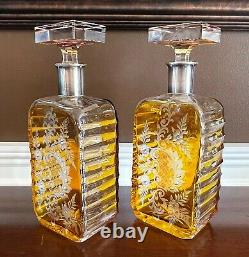 Pair Antique Bohemian Cut Glass Amber Crystal Engraved Silver Collar Decanters