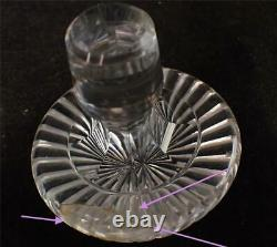 Pair Antique Regency Period Anglo Rish Cut Glass Decanters Stepped Neck