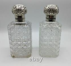 Pair Large Cut Glass and Silver London Gin Decanters circa 1890