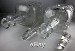 Pair Of ABP American Brilliant Cut & Engraved Floral Square Glass Decanters