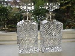 Pair Quality Cut Glass Decanters Sterling Silver Collar 1980 London Gerrard & Co