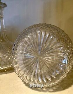 Pair of American Brilliant Period Clear Cut Glass Decanters with Faceted Stoppers