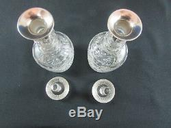 Pair of Cut Crystal & Silver Mounted Decanters Birmingham 1913
