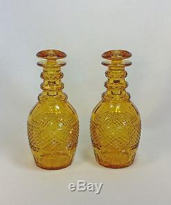 Pair of Diamond Cut Regency Amber Decanters Mushroom Stoppers