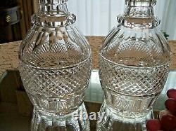 Pair of Vintage St. Louis Crystal Trianon Clear Cut Decanters