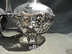 Pairpoint Glass Wine Decanter Wilcox/International Silverplate Tantalus Cruet
