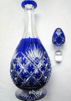Pear-shaped carafe in cut two-tone crystal, blue and white Saint LOUIS BACCARAT