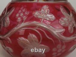 Pink Cut Crystal Decanter & His Support, Baccarat Model, Floral Decor