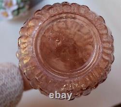 Pink Wax Drip Genie Bottle Decanter 1960s Glass Empoli MCM NO Stopper
