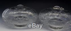 Pr Antique Cut Crystal & Sterling Silver Overlay Liquor Decanters Bottles