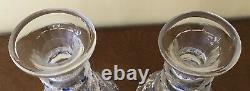 Pr. Georgian Cut Glass Enameled Jewels 3 Ring Trianon Top 18th Century Decanters