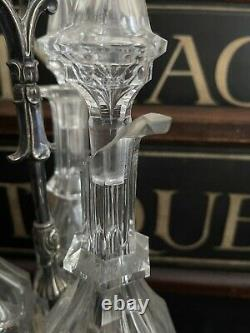 Quality Antique Triple Cut Glass Decanters On Silver Plated Stand